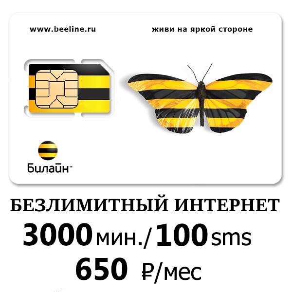 Билайн безлимитный интернет 3000 мин/100 смс 650 руб/мес
