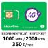 Мегафон безлимитный интернет 1000 мин/2000 смс - 350 руб/мес